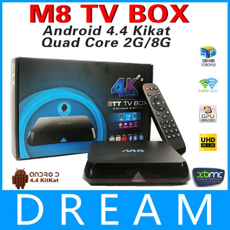 2 pezzi quad core XBMC androide box tv m8 amlogic s802 2g/8g2.4g/5g wifi doppio mali450 GPU 4k bluetooth hdmi Dolby True HD DTS HD em8