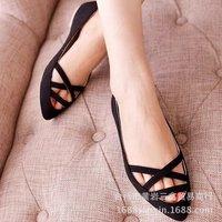 New women's crossed belt flat shoes, free shipping, plus sizes