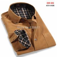 China Original Brand Men's Long Sleeve Corduroy Shirt, Solid Leisure Cotton Shirt,7 Size S M L XL XXL XXXL 4XL Available