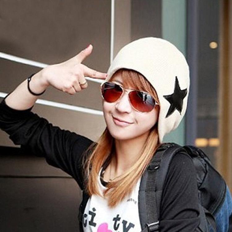 Hot Sale Fashion Unisex Mens And Womens Warm Star Pattern Knit Hat Skull Cap Ski Knit Hat 7 Colors Drop Shipping HT-0038\ru(China (Mainland))