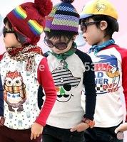 Drop Sale, Russian Hot sale 2014 Autumn Long sleeve T-shirt 100% Cotton, Pirates Cartoon  cotton T-shirt TZ18AT2