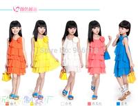 Fashion the new 2014 summer hot girls multilayer gauze big sleeveless dress is free shipping