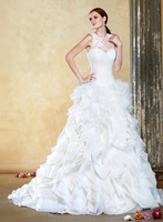 Famous Designer Handcrafted masterpiece Made White Lace And Sweep Train A - Line Wedding Dress