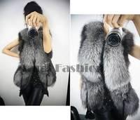 2014 new short design female faux fox fur vest leather vest plus size ladies leather faux fur vest women coat #7 SV003726