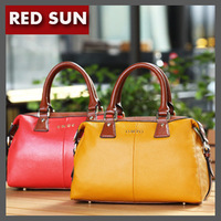RED SUN  Brand 2014 NEW cowhide genuine leather women's handbag zipper messenger bag concise large capacity bag Wholesale NB1645