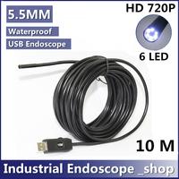 HD 720P Mini 10M cable 5.5mm Endoscope 6 LED IP67 Waterproof Camera USB Endoscope ,Mini Camera
