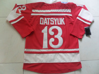 Authentic Red Pavel Datsyuk Jersey #13 2014 Winter Classic Embroidery Hockey Clothing Factory Outlet Long Sleeve T-Shirt NH-DR