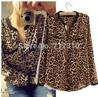 New Fashion Leopard Print Chiffon Long Sleeve Shirts Women's Blouse Sexy Casual Blouses Shirts SS427