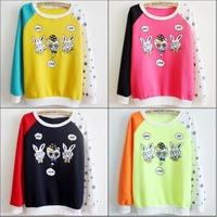 2014 New Korean Women's Cartoon rabbit 3D print Casual Pullover Hooded long sleeve Galaxy Sweatshirts Hoodies sweaters Tops 6365