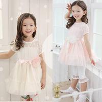 Kid Baby Girls Chiffon Gauze Lace Bow Belt Flower Tutu Dress Pink Party Dress Dropshipping Freeshipping