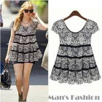 New 2014 Summer Women Blouse Fashion Chiffon Shirt Casual Slim Blouses Plus Size Women Cloth #005 SV003840