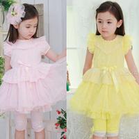 Flower Kids Baby Girls Dress Lace Collar Cake Layer Princess Dress Party Pink Dropshipping Freeshipping
