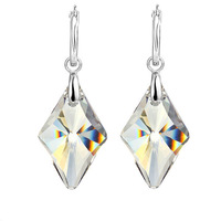 Promotion Rhombic Shaped 925 Silver Earrings Fashion Big Earring 2014 Jewelry Accessories Made With Swarovski Element