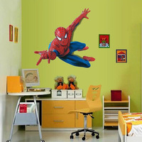 AY1937 free shipping DIY famous film figure flying spider hero save world letters wall sticker PVC waterproof decal household