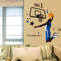 AY1940 free shipping DIY NO.1 basketball player flying dunk wall sticker home Decoration fans  PVC waterproof decal household