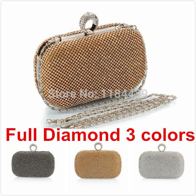 Hot Super Luxury Popular Women Full Diamond Finger Ring Evening Bags Clutch Purse/Bling Bag Gold/Silver/Black(China (Mainland))