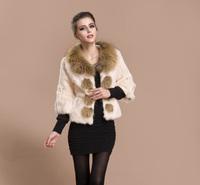 M-2XL Women's New Winter Fur Coat Three Quarter Sleeve Full Pelt Rabbit Fur Coat With Raccoon Fur Collar S001C , Free Shipping