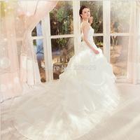 Korean super luxury high tailed bandage the latest Korean Princess Royal wedding dress up H11033