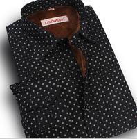 Factory Price Autumn Winter Men Shirt, Polka Dot Print Mid-aged Elder Men Fleece Warm Winter Shirt, Long Sleeve Thick Shirt