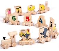 Kids Colorful Wooden Zodiac signs figures train Model Building Kits Child preschool educational toy Wholesale retails 28-09