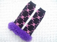 Free shipping stocking New Ruffle  Halloween Cotton leg warmer,Baby and Toddler  leg warmer with double chiffon ruffle