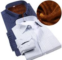 Fleece Thick Winter Wool Casual Shirt, Warm Velvet Luxury Self-heating Shirt, Long Sleeve Striped Business Shirt For Men 3XL 4XL