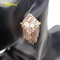 Ethnic tassel earrings gold plated metal chains rhinestones Austrian crystal earrings for women