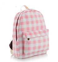 Free shipping 2014 New Fashion Fresh Girl Plaid Stripped School Backpack Women Canvas Rucksack