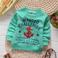 unisex england style boys anchor letter cotton baby children sweatshirts hoodies drop shippig KT206R