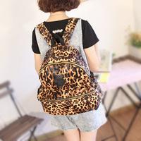 Promotion!New 2014 casual women's pu backpacks Leopard Rivet girl school bags travel shoulder bag printing bag Free shipping