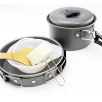 Aluminum Outdoor Camping Picnic Tableware Pot Frying Pan Spoon Bowl for 1-2 People
