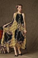 2014 New Arrival Women Summer Plus Size Elegant Luxury Brand Bohemian Long Dress Silk Chiffon Evening Party Beach Dress Belt
