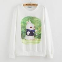 2015 New Brand Hoody women Casual hoodies Darling rabbit print fleece inside long sleeve o neck letters sweatshirt for women C1Q
