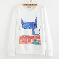 2014 New winter Hoody women Casual hoodies Slim blue cat print fleece inside long sleeve o neck letters sweatshirt for women CW3
