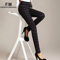High Waist Women Pants Checks Plaid Skinny Pencil Elasticated Women Pants & Capris XXXL Big Size Checked Trousers AW14P017