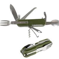 Outdoor Camping Pocket Tools Fork Spoon Knife Screwdriver Bottle Opener Led