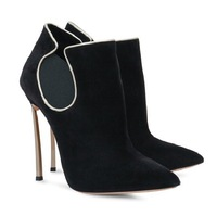 2014 new fashion sexy hot ankle boots high heels Metal heel women boots brand luxury Designer 12cm Black free shipping EU 35-41