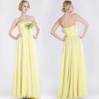 2014 Chiffon Yellow Free shipping customer made A-Line/Princess Halter Sleeveless Chiffon Floor-Length  Evening Dresses