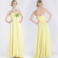 2014 Chiffon Yellow Free shipping customer made A-Line/Princess Halter Sleeveless Chiffon Floor-Length  Evening Dresses
