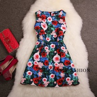 S-L Free Shipping Catwalk models Europe Vintage High Quality Autumn new Trendy high-end printing Floral  fashion Dress 140808#8