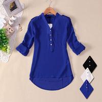 new 2014 women spring summer V-neck chiffon elegant all-match solid botton casual spirals shirt blouse white blue black s m l xl