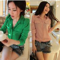 2014 Spring Autumn Tops Korean Women's Fashion Casual Green/Pink Long Sleeve Chiffon Blouses Shirts Hot Sale