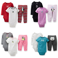 2014 Autumn New Carters Baby Girls Boys 3-pieces Bodysuit & Diaper Cover Set , Carter's Baby  Summer Clothing Set, Freeshipping