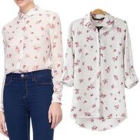 za 2014 brand wholesale 2014 new women's European and American long-sleeved chiffon flower pattern can be chock -shirts