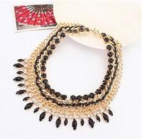 Bohemian Tassels Fringe Drop Vintage Weave Multilayer Collar Necklace Choker Chain Bib Statement Necklace & Pendants   XL-088