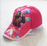 Wholesale Masha and Bear cartoon pattern cotton baseball cap children kids sun hat baseball cap boy girl gift 4-14Age