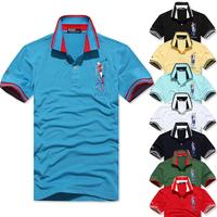 2014 new Fashion lattice color Turn-down Collar men's T-shirt 1474