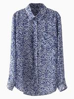 2014 Autumn New Women Casual Chiffon Blue Floral Print Shirt Long Sleeve with Dip Hem Loose Shift Blouse S M L