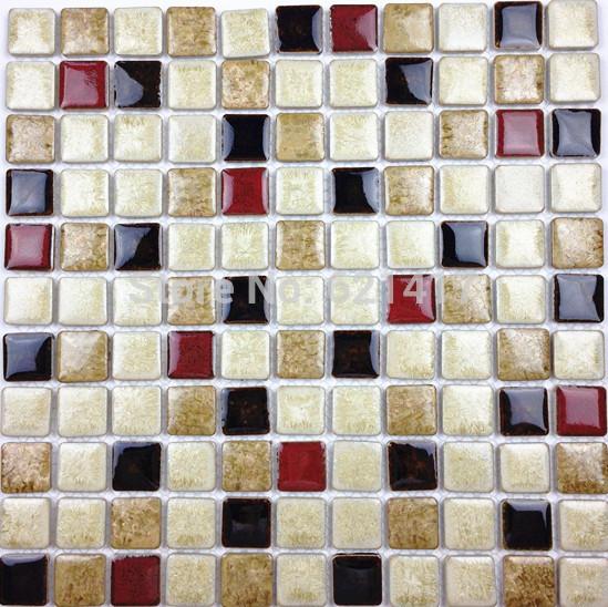 Discount White Deep Red Black Ceramic Porcelain Glazed Mosaic Tiles For Kitchen Backsplash Shower Dining Room Wall Tile(China (Mainland))