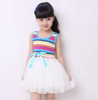 2013 summer Free shipping girl puffy dress dancing clothing princess tutu dress / rainbow striped dress kids clothing